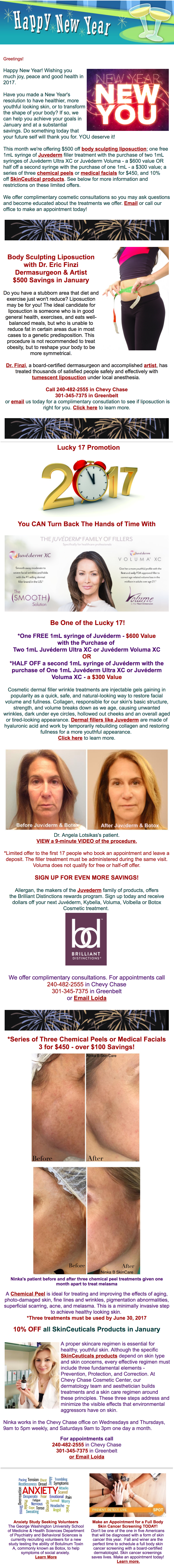 Botox discount liposuction specials January 2017 Chevy Chase Cosmetic Center